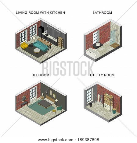 Interiors set of bathroom, living room, bedroom and utility room. Vector isometric illustrations.