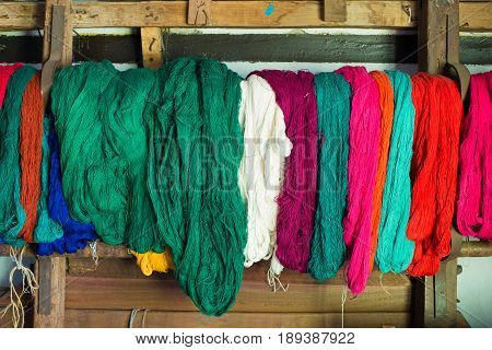 Colored weaving and knitting yarns in Sikkim, India