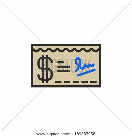 Paycheck filled outline icon vector sign colorful illustration