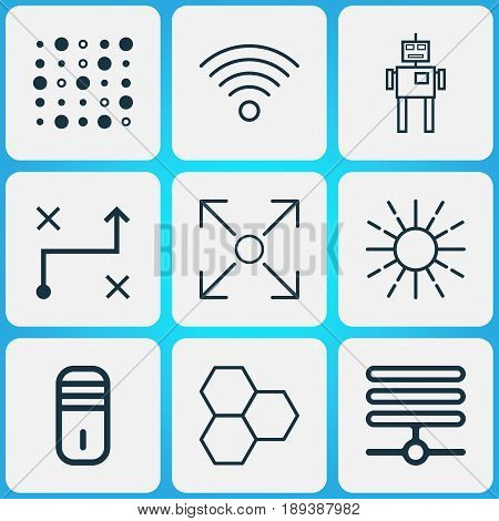Robotics Icons Set. Collection Of Lightness Mode, Variable Architecture, Information Base And Other Elements. Also Includes Symbols Such As Base, Solution, Variable.