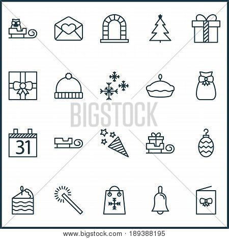 Holiday Icons Set. Collection Of Handbell, Toboggan, Gift Surprise Elements. Also Includes Symbols Such As Ball, Date, Christmas.