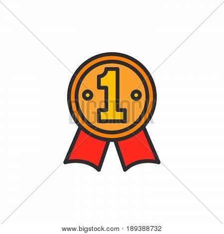 First place medal filled outline icon vector sign Best seller colorful illustration