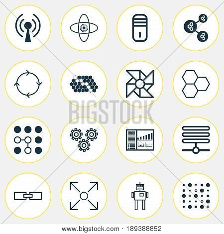 Machine Learning Icons Set. Collection Of Information Components, Atomic Cpu, Variable Architecture And Other Elements. Also Includes Symbols Such As Cycle, Cogwheels, Board.