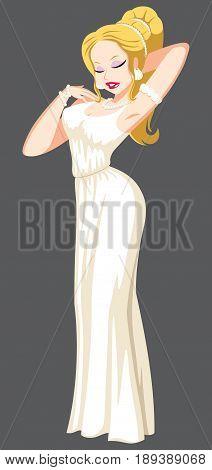 The Greek goddess Aphrodite on grey background.