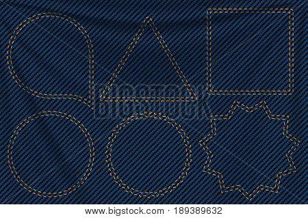 illustration of realistic blue denim texture with seam labels set