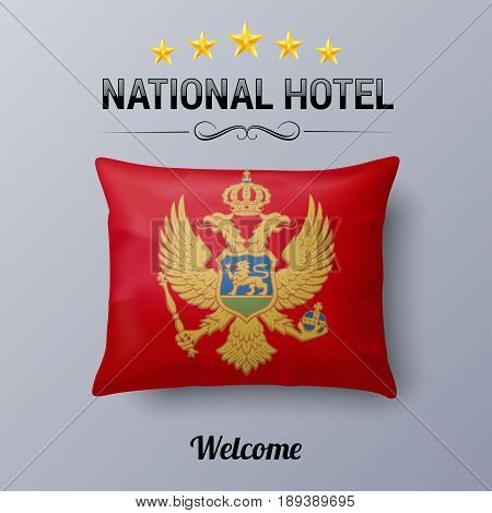 Realistic Pillow and Flag of Montenegro as Symbol National Hotel. Flag Pillow Cover with Montenegrin flag