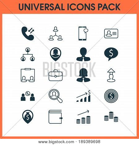 Human Icons Set. Collection Of Phone Conference, Business Deal, Briefcase And Other Elements. Also Includes Symbols Such As Career, Money, Dollar.