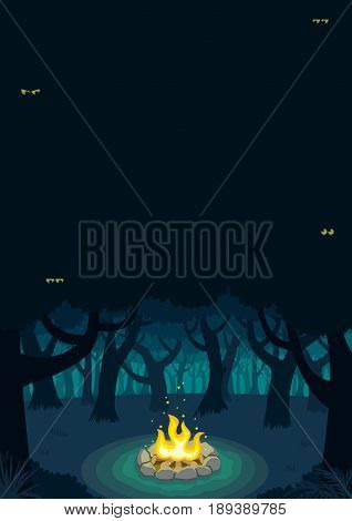Cartoon illustration of forest campfire with copy space.