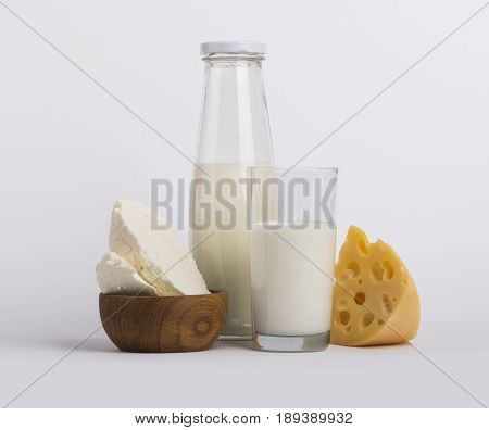 Protein products cheese cream milk On a white background