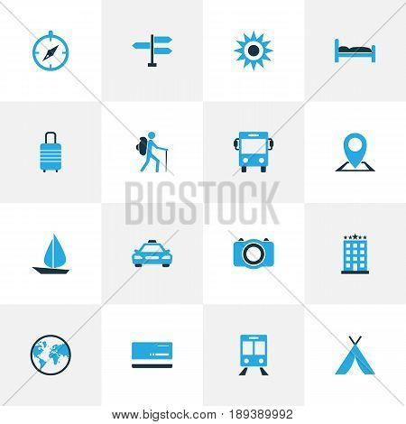 Exploration Colorful Icons Set. Collection Of Bank Card, Bed, Sail And Other Elements. Also Includes Symbols Such As Building, Bank, Doss.