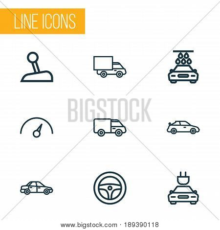Car Outline Icons Set. Collection Of Crossover, Electric Car, Lorry And Other Elements. Also Includes Symbols Such As Motor, Wheel, Car.