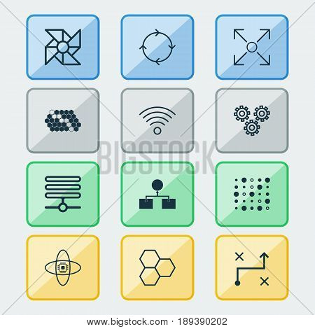 Artificial Intelligence Icons Set. Collection Of Analysis Diagram, Hive Pattern, Wireless Communications And Other Elements. Also Includes Symbols Such As Fan, Information, Pattern.