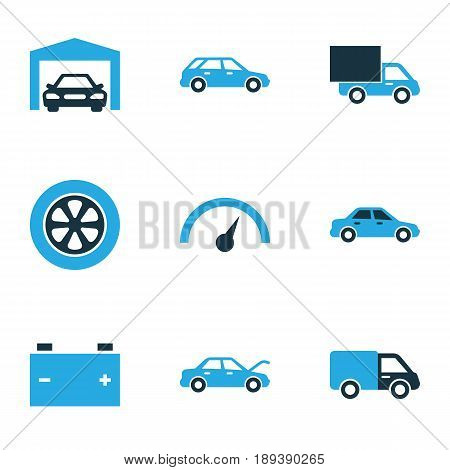 Auto Colorful Icons Set. Collection Of Speedometer, Tie, Garage And Other Elements. Also Includes Symbols Such As Hatchback, Speedometer, Hood.