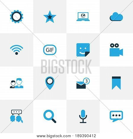 Internet Colorful Icons Set. Collection Of Location, Favorite, Microphone And Other Elements. Also Includes Symbols Such As Animation, Overcast, Flag.