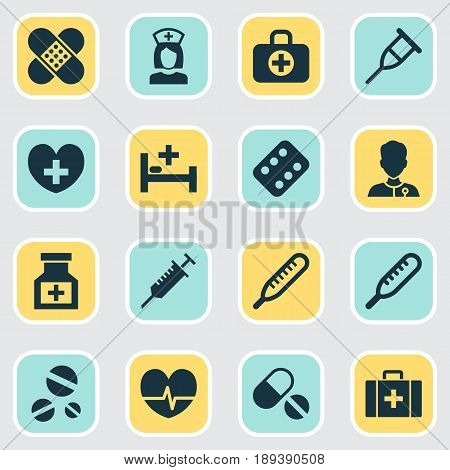 Medicine Icons Set. Collection Of Heal, Rhythm, Surgical Bag And Other Elements. Also Includes Symbols Such As Rhythm, Health, Heartbeat.