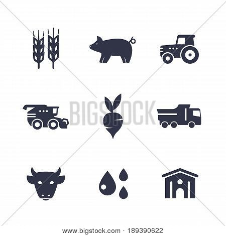 Agriculture, farming icons isolated on white, harvest, cattle, barn, agrimotor, storehouse, grain combine harvester