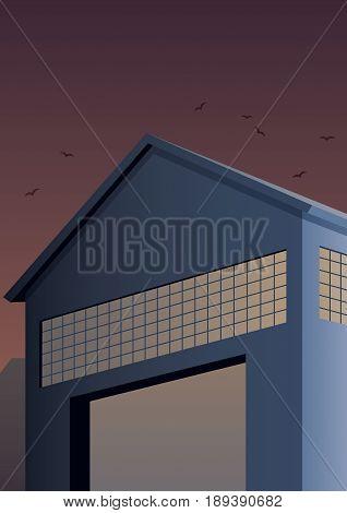 Cartoon warehouse building in Art Deco style.