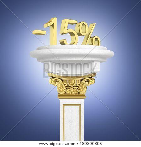 Gold Text 15 Percent Off Standing On The Pedestal On Dark Blue Gradient Background 3D Render