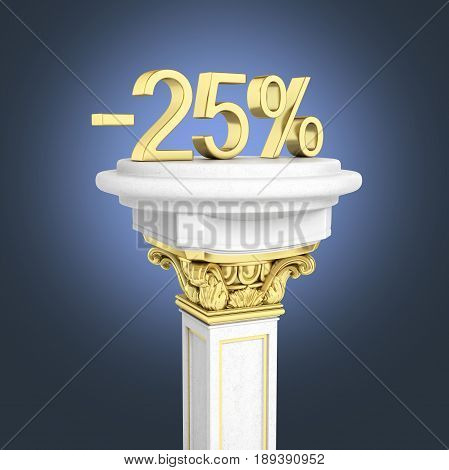 Gold Text 25 Percent Off Standing On The Pedestal Isolated On Dark Blue Gradient Background 3D Rende