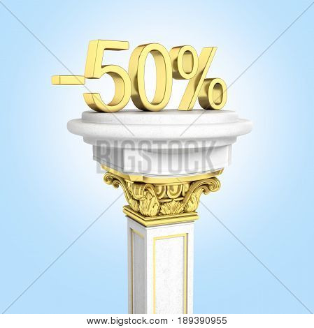 Gold Text 50 Percent Off Standing On The Pedestal Isolated On Blue Gradient Background 3D Render