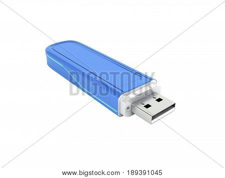 Usb Flash Drive In Blue With Backlight Without Shadow On White Background 3D