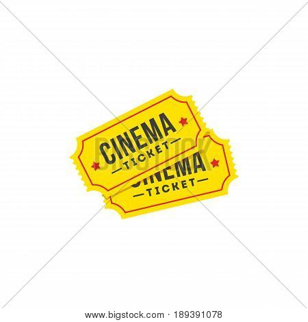 Entry ticket in flat style. Cinema icon set. Vector illustration.