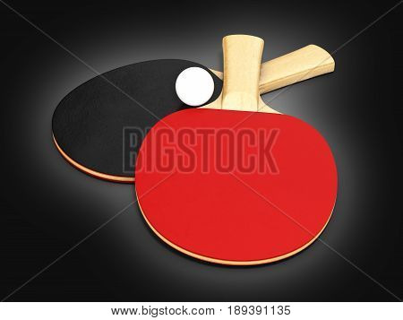 Ping-pong Rackets With Ball On Black Gradeint Background 3D