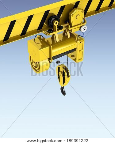 Overhead Crane Isolated On Blue Gadient Background 3D