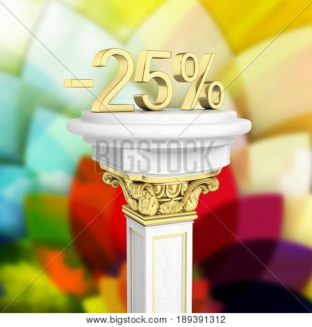 Gold Text 25 Percent Off Standing On The Pedestal Isolated On Abstract Background 3D Render