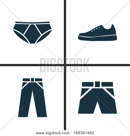 Dress Icons Set. Collection Of Briefs, Pants, Sneakers And Other Elements. Also Includes Symbols Such As Pants, Trunks, Shoes.