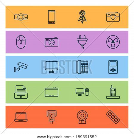 Gadget Icons Set. Collection Of Personal Computer, Surveillance, Extension Cord And Other Elements. Also Includes Symbols Such As Camera, Apparatus, Gadget.
