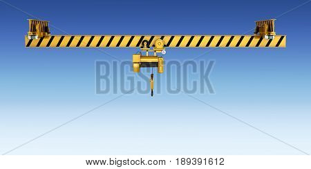 Overhead Crane Isolated On Blue Gradient Background 3D