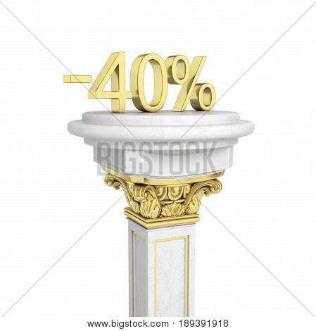 Gold Text 40 Percent Off Standing On The Pedestal Isolated On White Background 3D Render