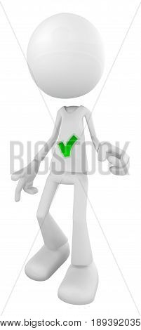 White symbolic figure standing check mark shirt 3d illustration vertical isolated