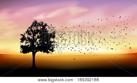 illustration of lonely tree silhouette with flying leaves on field at sunset