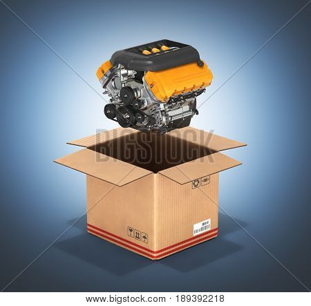 Engine With A Cardboard Box Concept Of Sale And Delivery Of Auto Parts Without Shadow On Dark Blue G