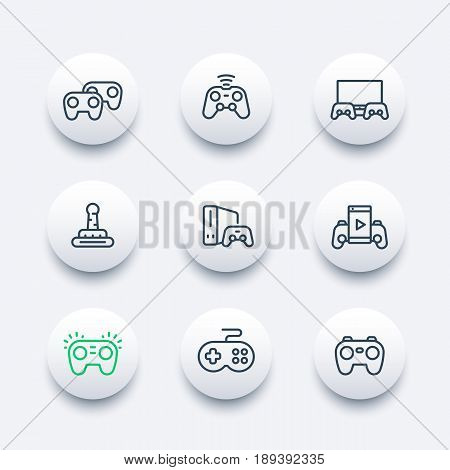 gamepads icons set in line style, console, video gaming, game controllers, cyber sport poster