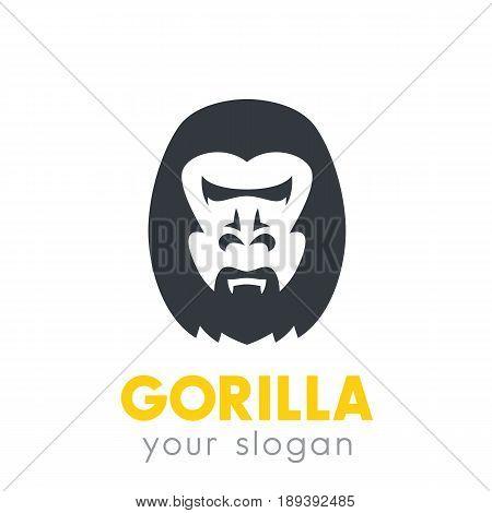 gorilla head logo element over white, vector illustration, eps 10 file, easy to edit