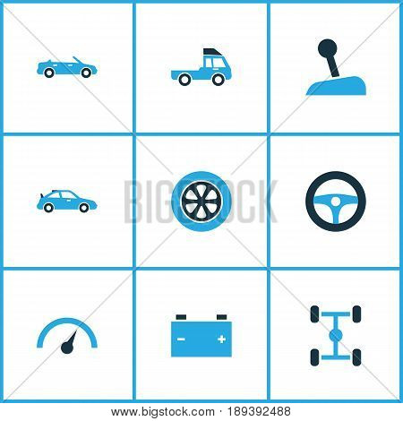 Car Colorful Icons Set. Collection Of Battery, Truck, Chassis And Other Elements. Also Includes Symbols Such As Control, Speedometer, Gear.