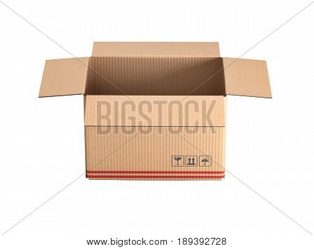 Cardboard Box Isolated On White Background Without Shadow 3D