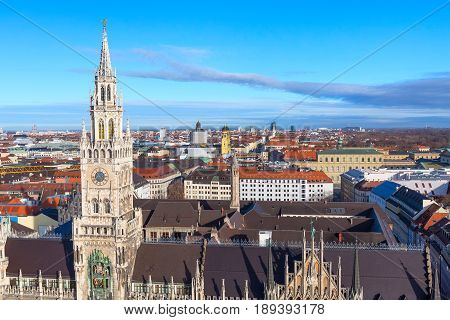 Aerial panoramic view of Marienplatz town hall rathaus and city skyline in Munich, Germany