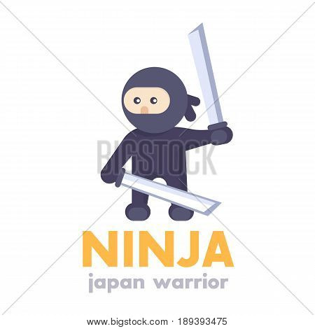 ninja holding swords in hands in flat style over white, eps 10 file, easy to edit