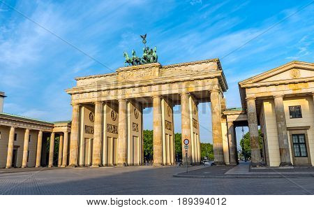 The famous Brandenburg Gate in Berlin after sunrise