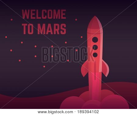 Rocket vector illustration in red colors, eps 10 file, easy to edit