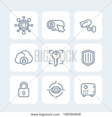 Security icons set, secure server, lock, shield, strongbox, video surveillance, safety, isolated linear pictograms, eps 10 file, easy to edit