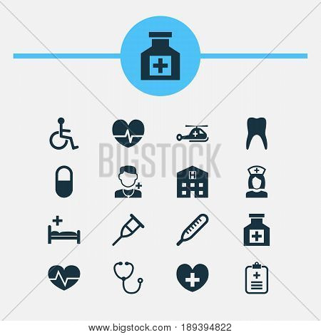Antibiotic Icons Set. Collection Of Analyzes, Rhythm, Stand Elements. Also Includes Symbols Such As Aid, Disabled, Stand.