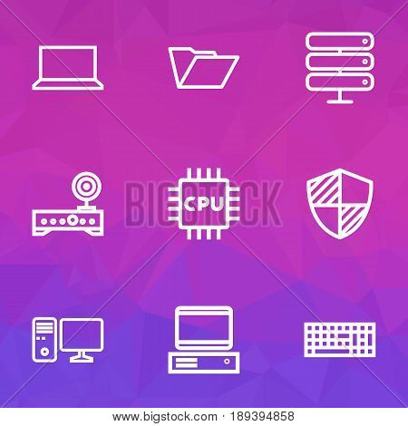 Computer Outline Icons Set. Collection Of Datacenter, File, Computer And Other Elements. Also Includes Symbols Such As Microprocessor, Wifi, Central.