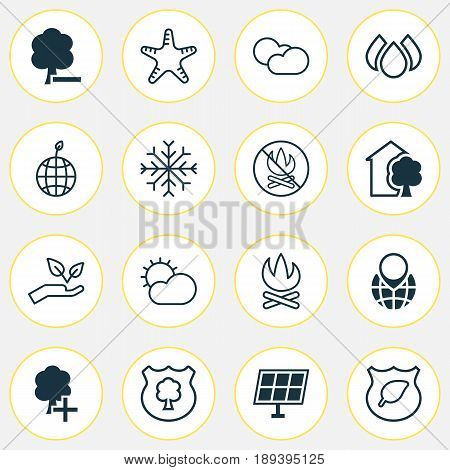Ecology Icons Set. Collection Of Fire Banned, Cloud Cumulus, Bonfire And Other Elements. Also Includes Symbols Such As Leaf, Sun, Weather.
