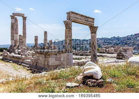 Temple of Hercules and the hand at the Amman Citadel Amman Jordan