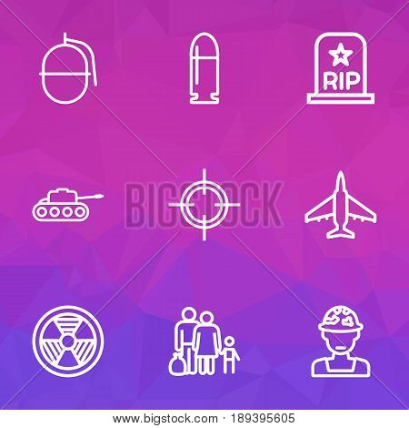 Combat Outline Icons Set. Collection Of Fugitive, Rip, Officer And Other Elements. Also Includes Symbols Such As Sniper, People, Officer.